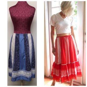 Vintage Prairie Boho Style Full Skirt